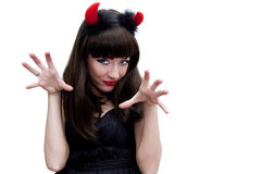 Devilish woman with horns growling Royalty Free Stock Photo