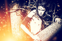 Devilry. A fantasy hero in a wild desolate forest. Art project. Fantasy. Halloween Stock Images