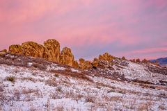 Devils Backbone rock formation. At foothills of Rocky Mountains in northern Colorado near Loveland, winter scenery at dawn Stock Photography