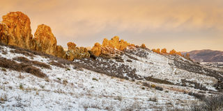 Devils Backbone rock formation panorama. Devils Backbone rock formation at foothills of Rocky Mountains in northern Colorado near Loveland, panorama of winter Royalty Free Stock Photos