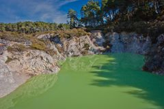 Devils Bath pond in geothermal park in New Zealand. Poisonous green color of hot springs, new zealands tourist attraction, famous touristic place of New stock image