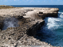 Devils Bridge on Antigua Barbuda royalty free stock photography