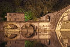 Devils Bridge at Night in Lucca, Italy Stock Photography