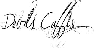 Devils caffe sign. Word devils cafe written in retro handwriting on white background Stock Photo