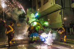 Devils dance Group on Correfoc Performance Stock Image