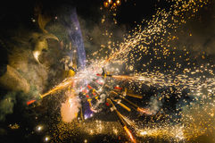 Devils dance Group on Correfoc Performance Stock Photography