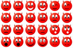 Devils emoticons set or collection Royalty Free Stock Photos