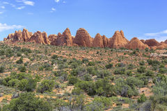 Devils Garden Trail, Arches National Park, Utah. View of sandstone formations from the Devil`s Garden hiking trail in Arches National Park, Utah Stock Image