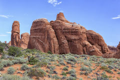 Devils Garden Trail, Arches National Park, Utah. View of sandstone formations from the Devil`s Garden hiking trail in Arches National Park, Utah stock images