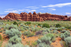 Devils Garden Trail, Arches National Park, Utah. View of sandstone formations from the Devil`s Garden hiking trail in Arches National Park, Utah Stock Photo