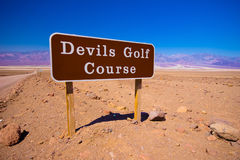 Devils Golf Course Sign. Sign for entrance to Devil's Golf Course, Death Valley National Park, California Royalty Free Stock Photography