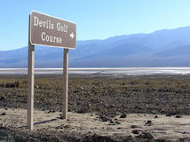 Devils Golf Course sign, Death Valley National Park Stock Images