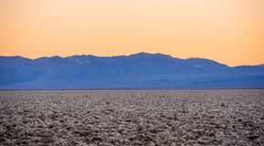 Devils Golf Couse at Death Valley at sunset. USA 2017 Royalty Free Stock Photos