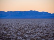 Devils Golf Couse at Death Valley at sunset. USA 2017 Royalty Free Stock Photography