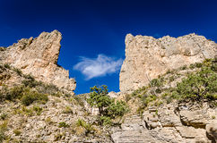 Devils Hall Trail - Guadalupe Mountains National Park - Texas. Keyhole opening to vivid blue sky in canyon cliffs on Devil`s Hall trail at Guadalupe Mountains Stock Images