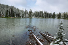 Devils lake in a snowy day on June Stock Photography