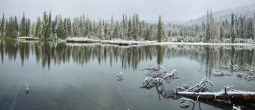 Devils lake in a snowy day on June Stock Photo