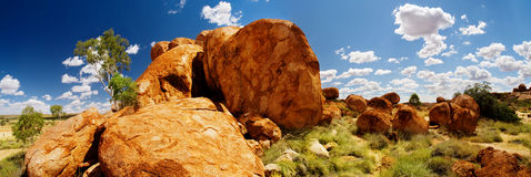 Free Devils Marbles Panorama Stock Image - 9380841