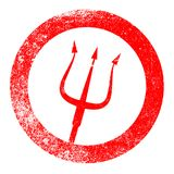 Devils Pitchfork Red Ink Stamp. A rubber red ink stamp of the devils pitchfork over a white background Royalty Free Stock Photography