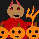 Devils play2. The devil with his pumkinhead friends Royalty Free Illustration