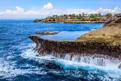Devils tears, blow holes at Sunset Point, Nusa Lembongan, Indonesia royalty free stock photo