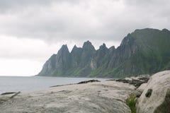 Devils Teeth, Tungeneset, Senja, Norway. View to the Devils Teeth, Tungeneset in Senja Stock Images