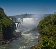 The Devils Throat - Iguasu Falls, Argentina Brazil. MW - The largest section of the Iguasu Falls is on the Brazilian side - called the Devils Throat Royalty Free Stock Images