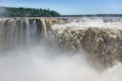 The Devils Throat at Iguazu Falls view from argentinian side - Brazil and Argentina Border Royalty Free Stock Photo