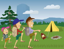 Devils Tower. Vector illustration of a family camping at Devil's Tower Monument, Wyoming Stock Photography