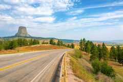 Devils Tower and Highway Stock Images