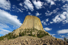 Devils Tower National Monument. Rises prominently from the landscape of northeastern Wyoming Stock Photos
