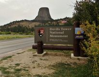 Devils Tower National Monument Park Entrance. Devils Tower National Monument, a unique and striking geologic wonder steeped in Native American legend, is a royalty free stock photo