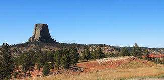 Devils Tower NM, Wyoming, USA. Panorama of the Devils Tower National Monument Stock Image