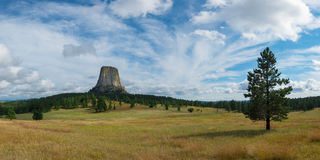 Devils Tower Panorama. A day time photo of Devils Tower in Wyoming Royalty Free Stock Images