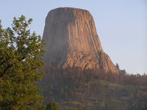 Devils Tower - sacred place. Devil Tower National Monument,Wyoming, formerly, a sacred place for the Indians who had named it Bad God's Tower.With his film Close royalty free stock images