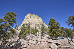 Devils Tower, top attraction in Wyoming State, USA. Stock Images