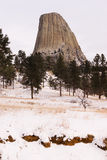 Devils Tower Wyoming Winter Snow Rock Butte Stock Photography