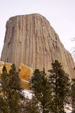 Devils Tower Wyoming Winter Snow Rock Butte Royalty Free Stock Images