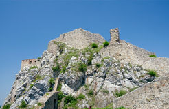 Devin Castle, algemene mening. Bratislava, Slowakije Stock Foto