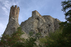 Devin Castle - Bratislava. View of the Devin Castle from the Danube Royalty Free Stock Photography