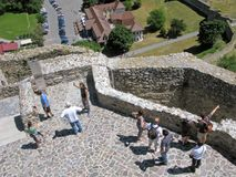 Devin castle, people, top view Royalty Free Stock Photo