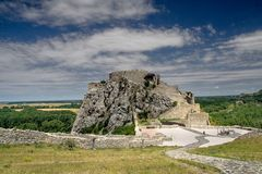 Devin castle ruins. View of Devin castle ruins Stock Photo