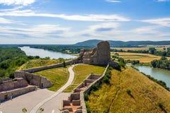 Devin castle in Slovakia. Dunai river Royalty Free Stock Photos