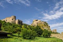 Devin castle in Slovakia. Meadow in the landscape Stock Photo