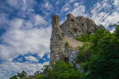 Devin castle in Slovakia. Sky and clouds Stock Image