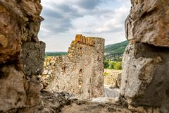 Devin Castle Slovakia 14. Devin Castle Window View of Ruined Fortified Wall and Breathtaking Picturesque Blue Cloudy Sky at Background stock photography