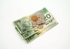 Devise - argent canadien Images libres de droits