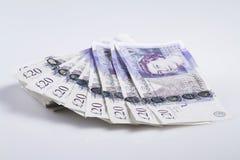 Devise britannique Fan des Anglais billets de banque de 20 livres Images libres de droits