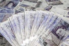 Devise britannique Fan des Anglais billets de banque de 20 livres Fond Images stock