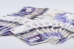 Devise britannique Fans des Anglais billets de banque de 20 livres Fond Photo stock